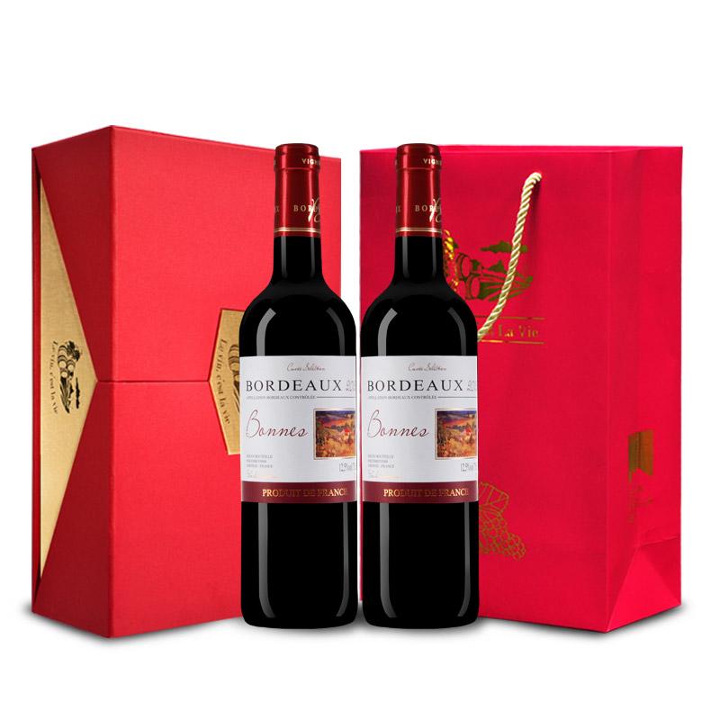 【红酒礼盒】法国原瓶进口红酒礼盒套装 双支波尔多AOC邦妮庄园干红葡萄酒 双支礼盒套装