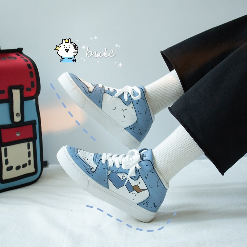休闲鞋女2019秋款百搭高帮小白鞋女学生运动鞋子女秋季新款女生板鞋 蓝色 39