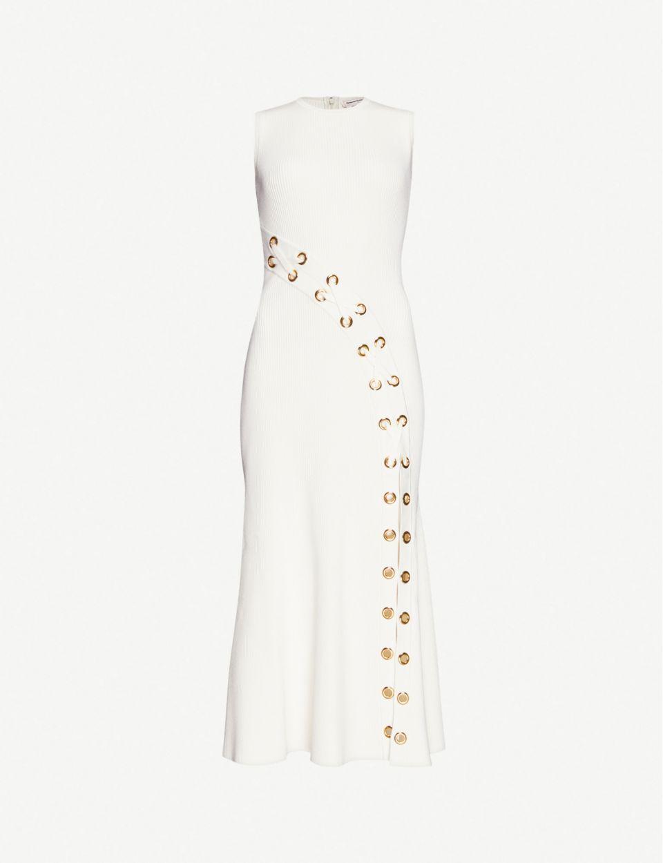 Eyelet-embellished stretch-knit maxi dress